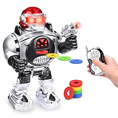 Remote Control RC Robot for Kids – Shoots, Sings, Dances, Talks, Slides – Fun & Entertaining Companion for Kids – Easy to Use, Kid-Friendly Design – LED Lights, Music & Dapper Dance Moves {Upgraded}