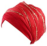 Ababalaya Women's Soft Luxury Velvet Glitter Mesh Wrapped Muslim Turban Hijab 67×10 Inch,Red