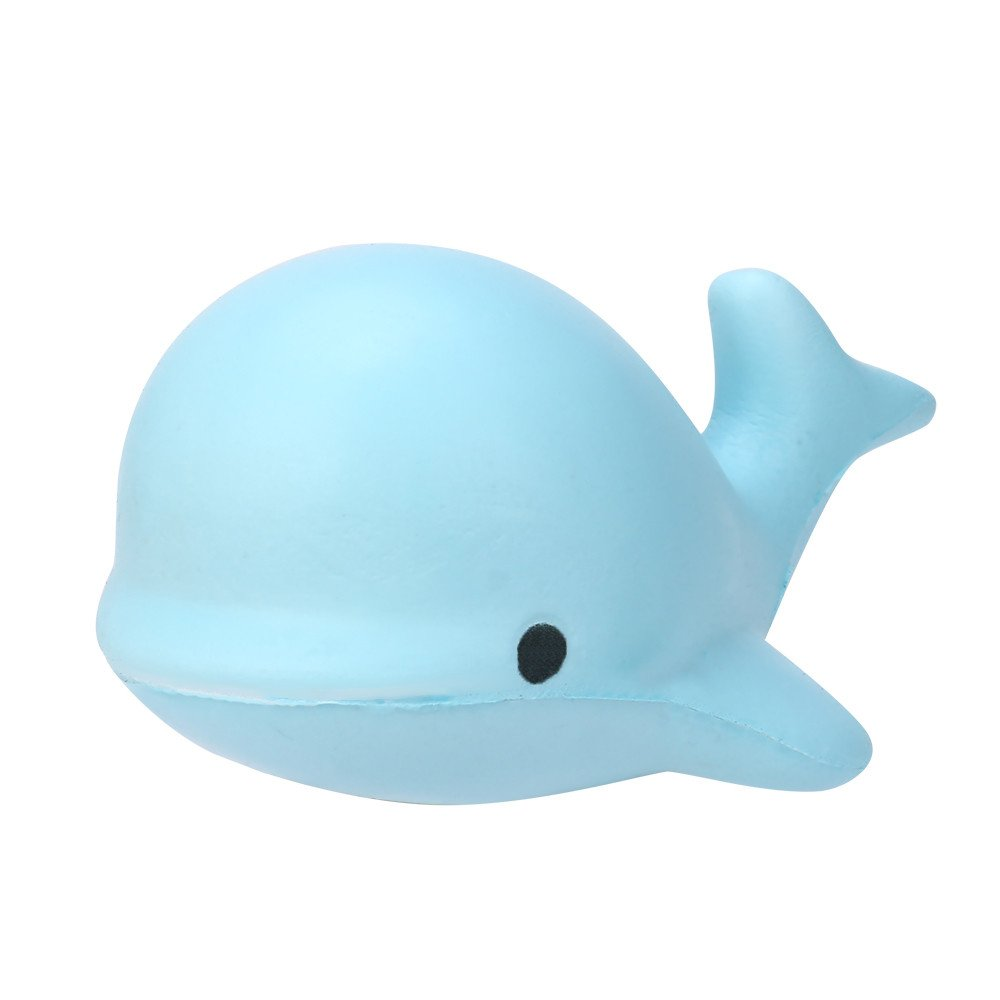 Fanyunhan 10CM Soft Whale Cartoon Squishy Slow Rising Squeeze Toy Phone Straps Fun Animal Stress Reliever Toys