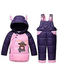 Genda 2Archer Baby Boys Girls Winter Hooded Down Jacket Snowsuit Bib Pants Set