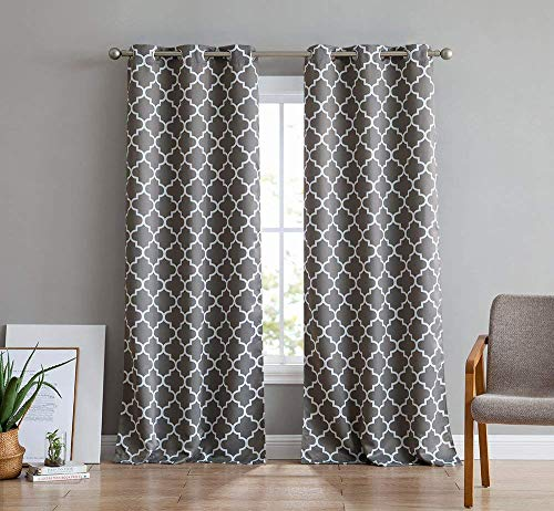 2 Panel Curtain Set - HLC.ME Lattice Print Thermal Insulated Room Darkening Blackout Window Curtain Panels for Bedroom - Set of 2-37