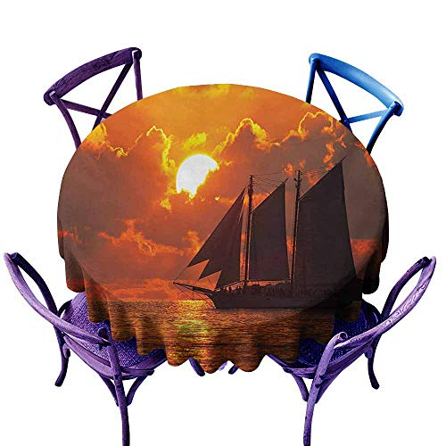 Water Resistant Table Cloth,Sailboat Boat Sailing in Front of a Sunset in Key West Florida Sundown Tropical,Party Decorations Table Cover Cloth,60 INCH,Orange Dark -