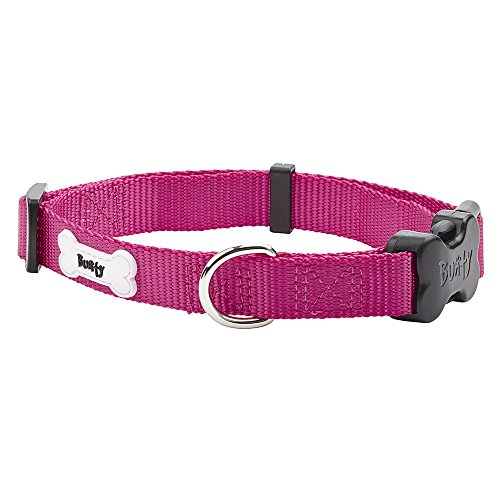 Bunty Middlewood Adjustable Soft Strong Fabric Dog Puppy Pet Collar with Buckle and Clip for Lead – Pink – Small