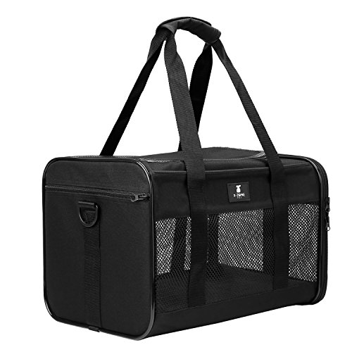 Qty Kitty - X-ZONE PET Airline Approved Soft-Sided Pet Travel Carrier for Dogs and Cats, Black