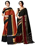 ELINA FASHION Pack Two Sarees Indian Women Cotton Art Silk Printed Weaving Border Saree (Multi 4)