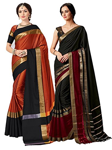 (ELINA FASHION Pack of Two Sarees for Indian Women Cotton Art Silk Printed Weaving Border Saree (Multi 4) )