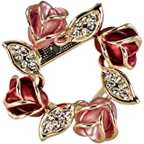 Dahlia Rose Wreath Crystal Rhinestone Gold-Tone Brooch Pin - Pink