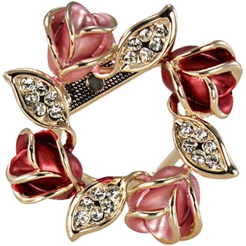 Dahlia Rose Wreath Crystal Rhinestone Gold-Tone Brooch Pin - Pink ()