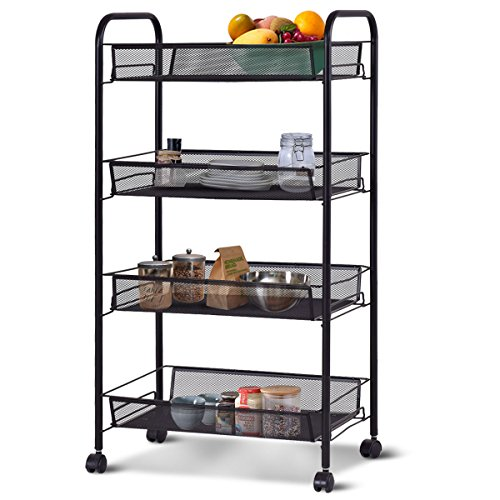 Giantex Storage Rack Trolley Cart Home Kitchen Organizer Utility Baskets (4 Tier, Black)