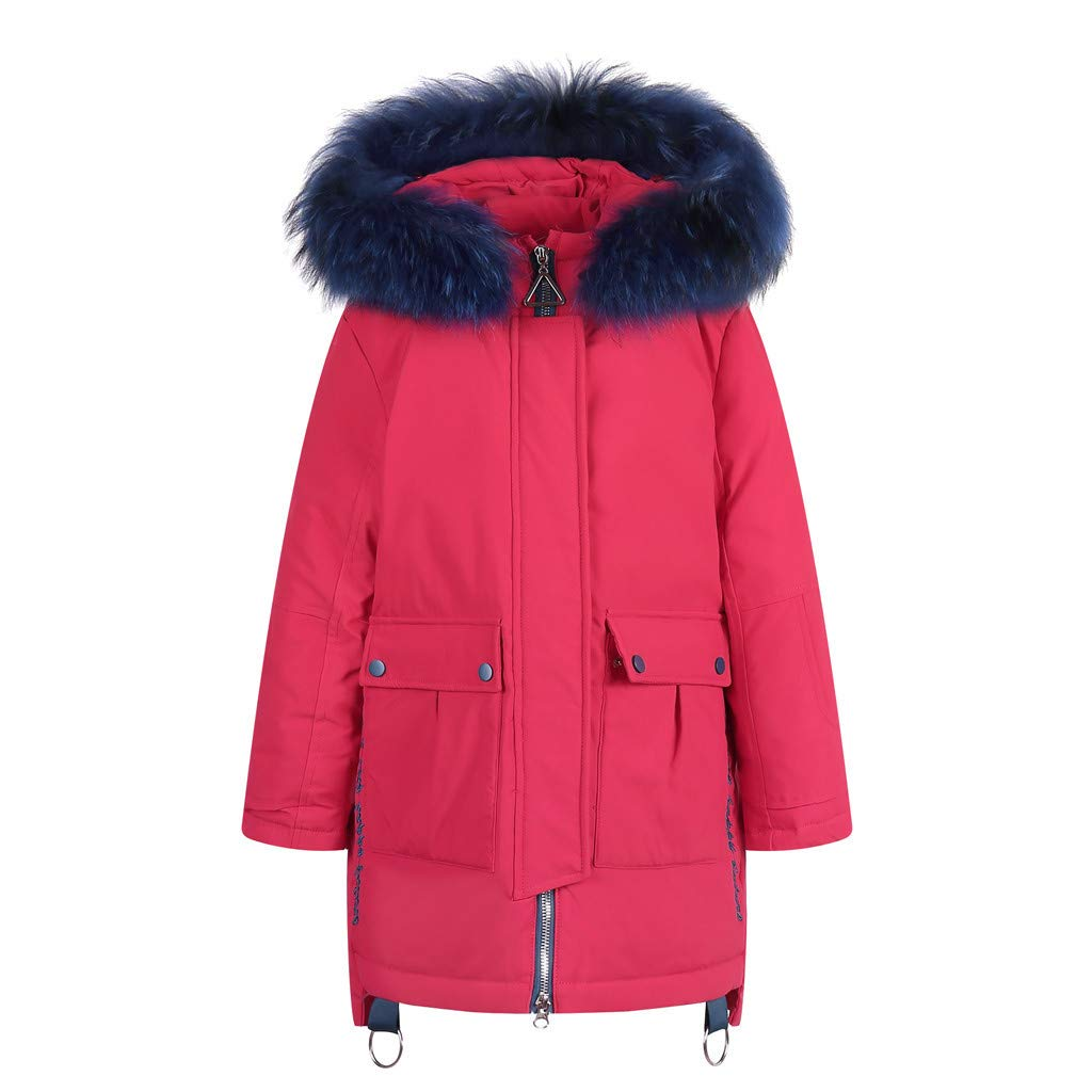 BFYOU Kids Girls Boys Winter Faux Hooded Down Coat Jacket Padded Overcoat Red by BFYOU_ Girl Clothing