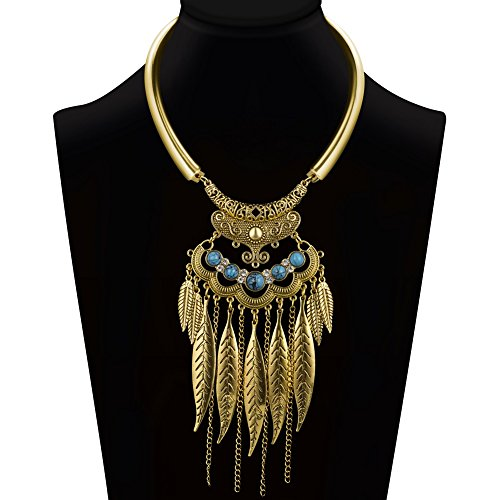 Ysiop Women Bohemian Statement Necklace Vintage Neck Strap Turquoise Leaf Tassel Pendant Golden Updated - Hippy Diy Costume
