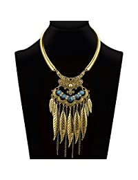 Ysiop Women Bohemian Statement Necklace Vintage Neck Strap Turquoise Leaf Tassel Pendant Updated Version