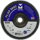Mercer Industries 343040 Zirconia Flap Disc, Type 29, 7'' x 7/8'', Grit 40, 10 Pack