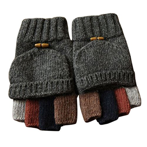 Adorrable Men's Wool Glove Mitten Fingerless Crochet Convertible Knitted Gloves, Dark Grey