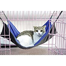 NACOCO Cat Hammock Ferret Rat Rabbit or Puppy Bed Pad Hanging Soft Pet Bed Use with Crate Cage or Chair, 3 Kinds of Design (Winter&Summer, Small)