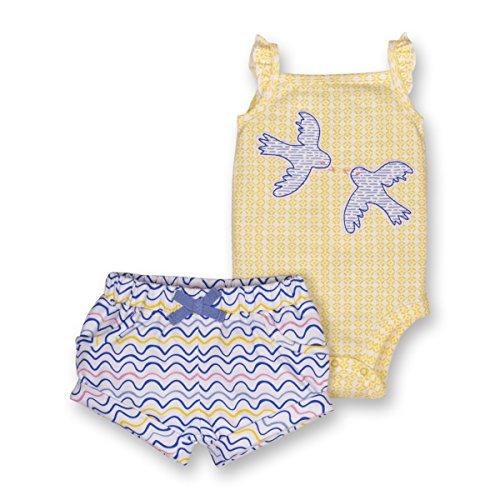 Lamaze Baby Girls Organic 2 Piece Bodysuit and Short Set, Yellow, 12M (Body 2 Piece Set)