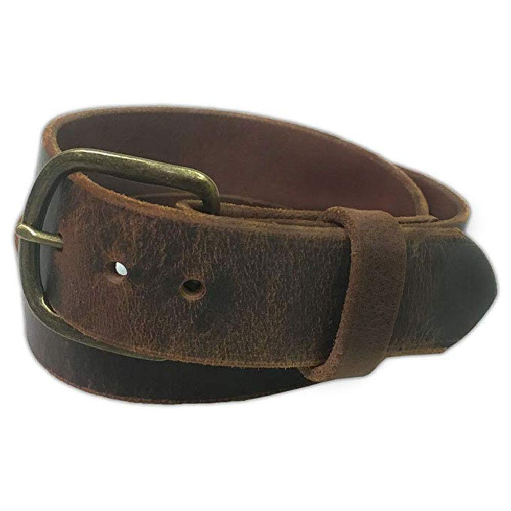Jean Belt, Brown Crazy Horse Water Buffalo Leather, 9 Ounce - Antique Buckle - Handmade in the USA! By Exos - Size: 38