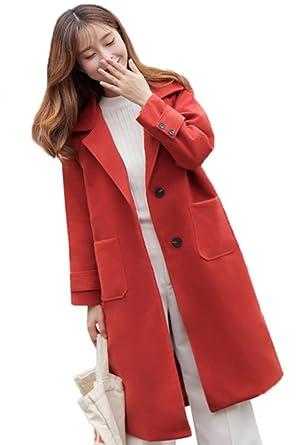 purchase cheap 252be 0da58 Blansdi Damen Elegant Winter Wollmantel Trenchcoat Knopf V ...