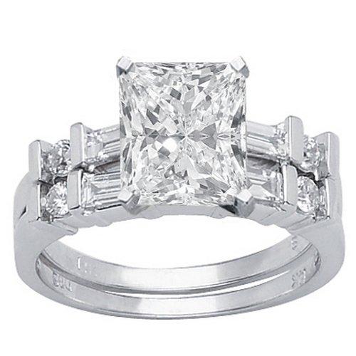 1.62 Carat Radiant Cut / Shape GIA Certified 14K White Gold Channel Set Baguette And Round Diamond Wedding Set (D Color , VS1 Clarity)