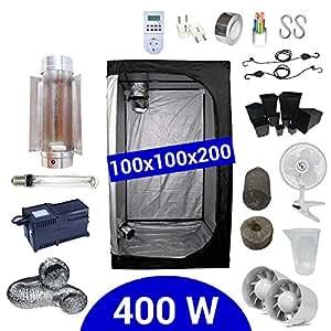 Kit de cultivo interior 400W SHP Cooltube Protube - Armario 100x100x200 - Balastro ETI 2