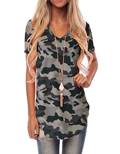 Shirt Top Camouflage (WFTBDREAM Women Short Sleeve V-Neck T-Shirts Loose Solid Color Tshirts Tee Tops Camo Grey M)