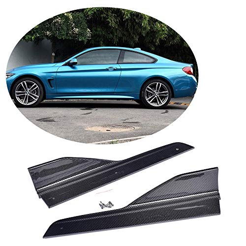(MCARCAR KIT Side Skirt Splitter fits BMW 4 Series F32 F33 F36 M Sport 2014-2018 Customized 420i 428i 435i 440i M-Packet Real Carbon Fiber Moulding Door Rocker Panel Flaps Spoiler Aprons Cover)