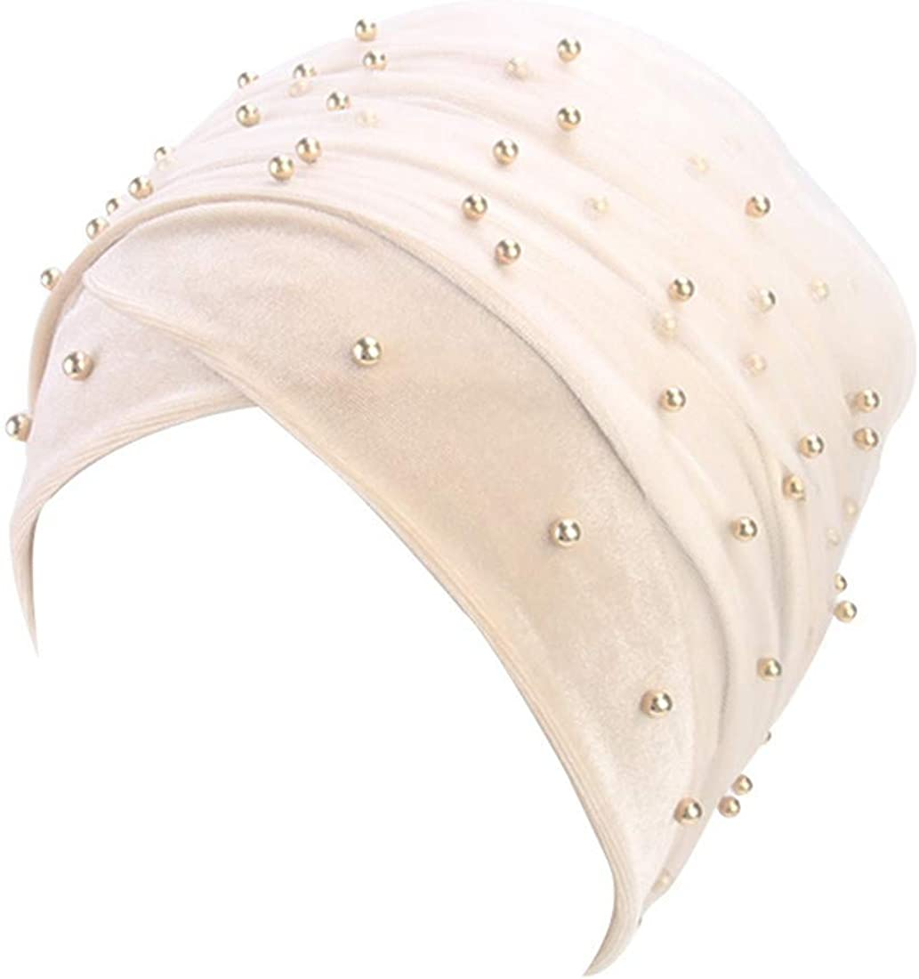 Qianmome Velvet Long Turban Mesh Pearl Velvet Turban Muslim Hijab Scarf Turbante Tie Headwrap