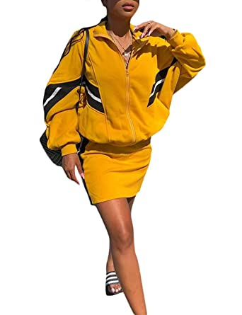 f7d156372c75 Sport Autumn Long Sleeve Jacket Coat+Matching Skirt Set Two Piece Outfit  for Ladies Yellow