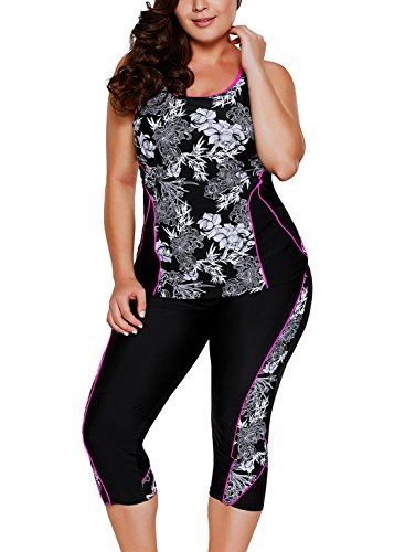 Aleumdr Womens Floral Printed Racerback Cut Out Padded Cami Tankini Top Set Swimsuits with Swim Capris Large Size Black