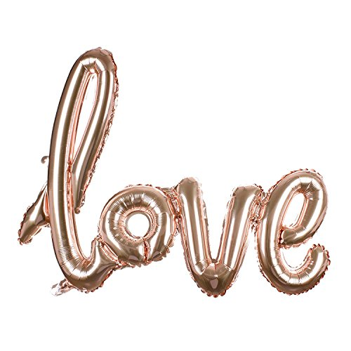 Findfun 30 Inch Champagne Love Balloon Romantic Wedding Bridal Shower Anniversary Script Love Letter Wedding Decor -