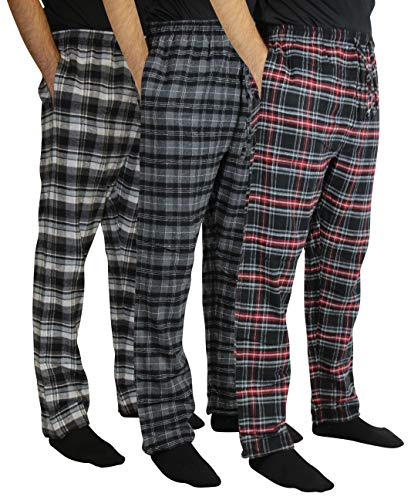 New 3 Pack:Men's Cotton Super Soft Lightweight Flannel Buffalo Plaid Pajama Pyjamas Pants/Lounge PJS Bottoms Sleepwear,ST 3-XXL