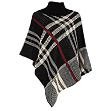 Womens Checked Winter Tartan Red Band Wrap Knitted Ponchos Shawl
