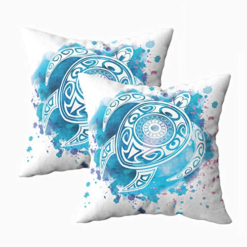 Jacrane Deco Pillow Covers, Decorative Square Throw Pillowcase 18X18Inch 2PCS Totem Animal Turtle in Maori Tattoo Style Watercolor Background Soft Art Gift with - Turtle Animal Totem