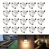 CHNXU 20 Pack LED Deck Lighting Kit with Transformer, Warm White IP67 Waterproof Φ1.77'' 12V Low Voltage Recessed Landscape Garden Yard Patio Step Stair Decoration Lamps LED In-ground Lights