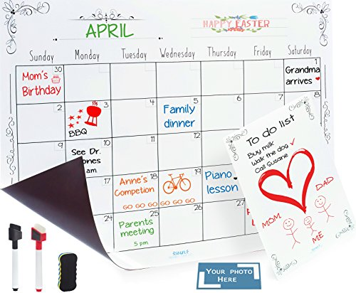 Magnetic Dry Erase Calendar, Notepad, and Adjustable Photo Frame for Kitchen Refrigerator – Monthly Magnetic Fridge Calendar Board Planner with Two Markers and Eraser