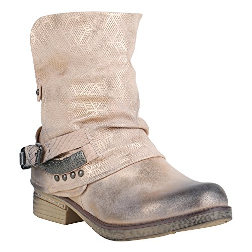 Stiefelparadies Gefütterte Damen Biker Boots Stiefeletten Winterschuhe Metallic Prints Nieten Schnallen Übergößen Schuhe Flandell Rosa Nieten