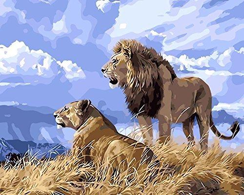 ESOOR Pittura a olio per adulti Bambini Pittura per numero Kit Pittura a olio digitale La coppia Leone 16X20 pollici