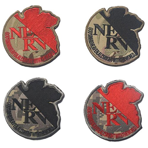 - Neon Genesis Evangelion NERV Organization US Army USA Embroidered MilitaryTactical Moral Patch Badge for Uniform Cosplay - 3.54 inch Diameter 4PCS