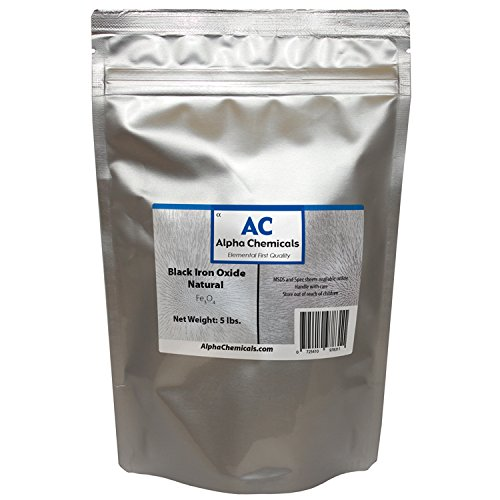 Black Iron Oxide - Fe3O4 - Natural - 5 Pounds by Alpha Chemicals