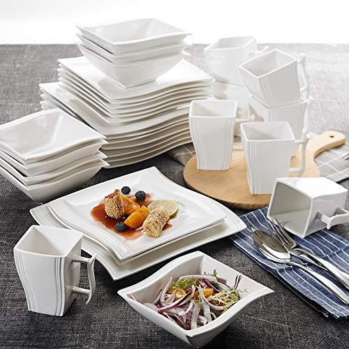 A SUNDELLAO 32 pièces en Porcelaine Blanche de Vaisselle avec plaques de dîner 8 Morceaux, Bols, Assiettes à Dessert, Tasses Set pour 8 Personnes, A