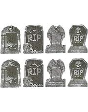 8 قطع بار تومب ستون الدعائم الجمجمة هالوين الجمجمة رؤوس البرتقال محاكاة الجمجمة قبر الدعائم (نمط عشوائي)