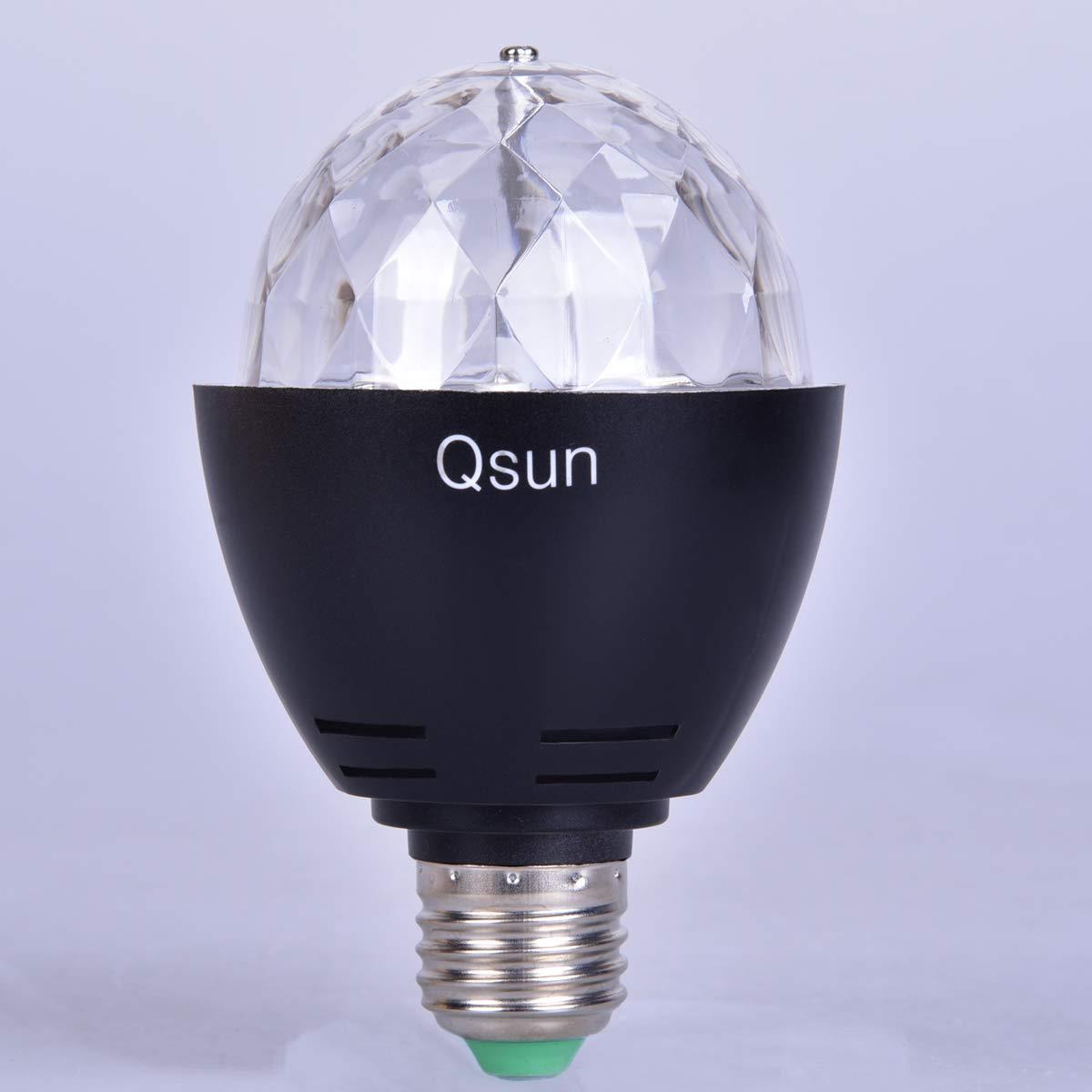 Qsun LED Rotating UV Blacklight Bulb E26 Stage Light 3W Ultraviolet for Christmas DJ KTV Party Club Disco Magic Light Bar LED1