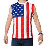 USA FLAG SLEEVELESS TANK   USA! USA! Walk proudly with the American Flag draped on you!   Features:  • MADE IN THE USA! • Color - USA Flag (Design is on front and back.) • Material - Poly/Cotton • Wear to your next BBQ or 4th of July outing.  Size Ch...
