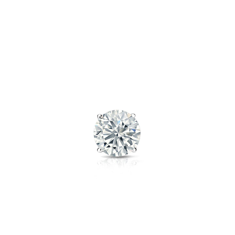 18k White Gold 4-Prong Basket Round Diamond SINGLE Stud Earring (0.08ct, Good, I2-I3)