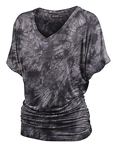 Lock and Love WT1114 Womens V Neck Short Sleeve Tie Dye Shirring Dolman Top XL Black