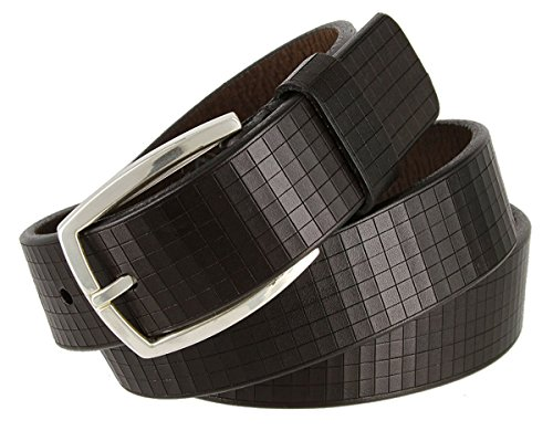 "Hagora Women's Dark Brown Italian Leather Square Tiled 1-3/8"" Wide Buckle Belt,Dark Brown 34"
