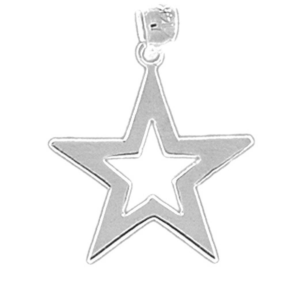 14K White Gold Star Pendant Jewels Obsession Star Pendant 23 mm