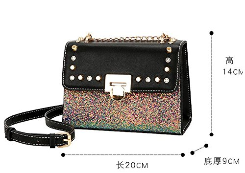 Olici Personality Chain Summer Square Satchel Shoulder Bag Bag Mini Joker Fashion Small Black Single qEpr1wxqS