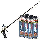 Soudal Pro FireBlock Foam Sealant 6 - 24 oz Cans + 2ft Professional Foam Gun