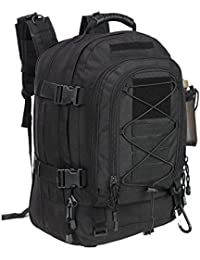 Military Expandable Travel Backpack Tactical Waterproof Outdoor 3-Day Bag,Large,Molle System for Travel,Hiking,Camping,Trekking,Outdoor Sports,Work(Black)
